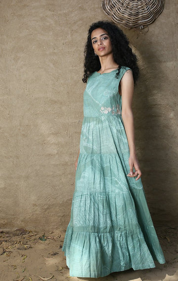 Jade Green Maxi Dress without Sleeve