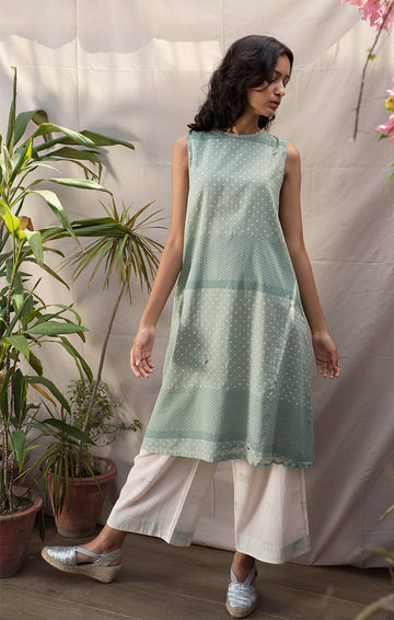 Ivory Palazzo with Mint Green Prints