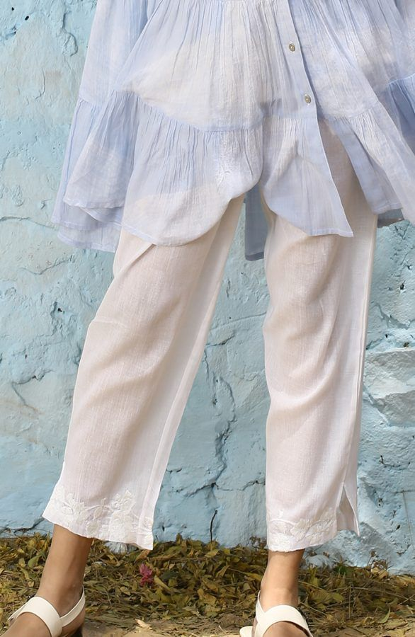 Straight sheer pants with embroidery