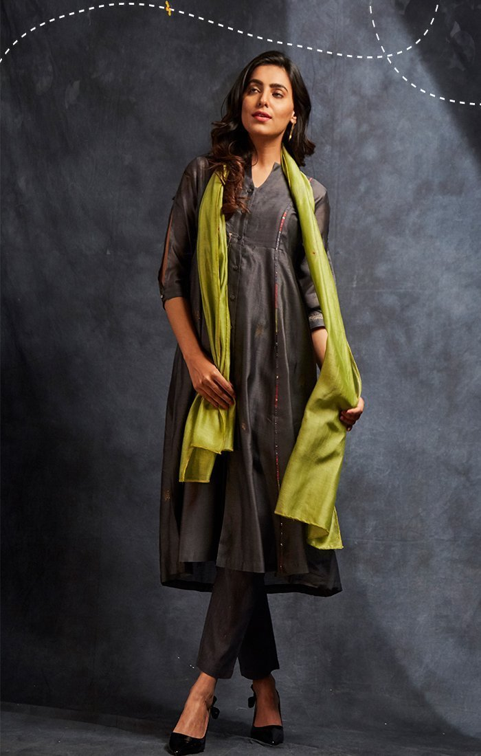 Anchor Grey Tunic/Dress with pants and Choice of stole - Fuschia or lime green