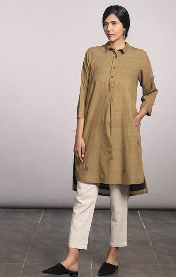 Khakhi Tunic Dress -  with pants