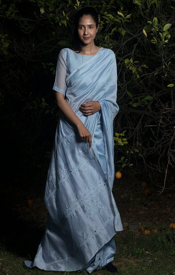 Into the Woods Saree with Blouse - Powder Blue