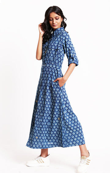Indigo Long Shirt Dress