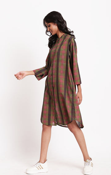 Shirt Dress Multi Colored Checks