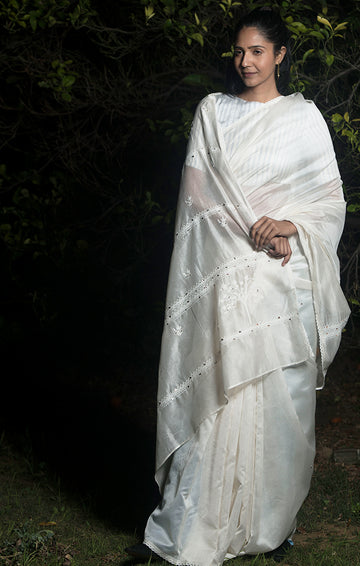 Into the Woods Saree with Blouse - Ivory