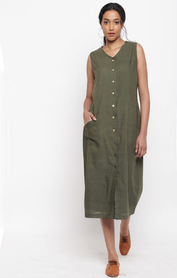Olive Green Handspun handwoven Muslin Dress
