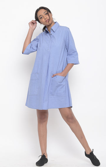 Jodhpur Blue Organic Cotton Shift Dress