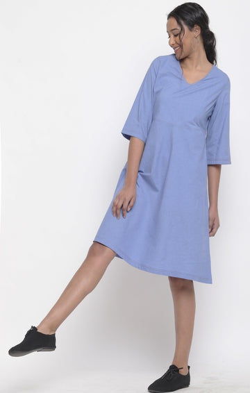 Jodhpur Blue Organic Cotton Dress