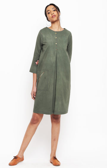 Olive Green Organic Cotton Shift Dress