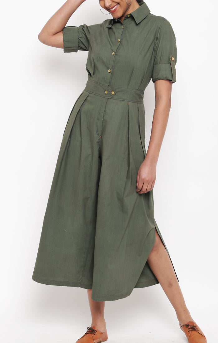 Olive Green Organic Cotton Jumpsuit