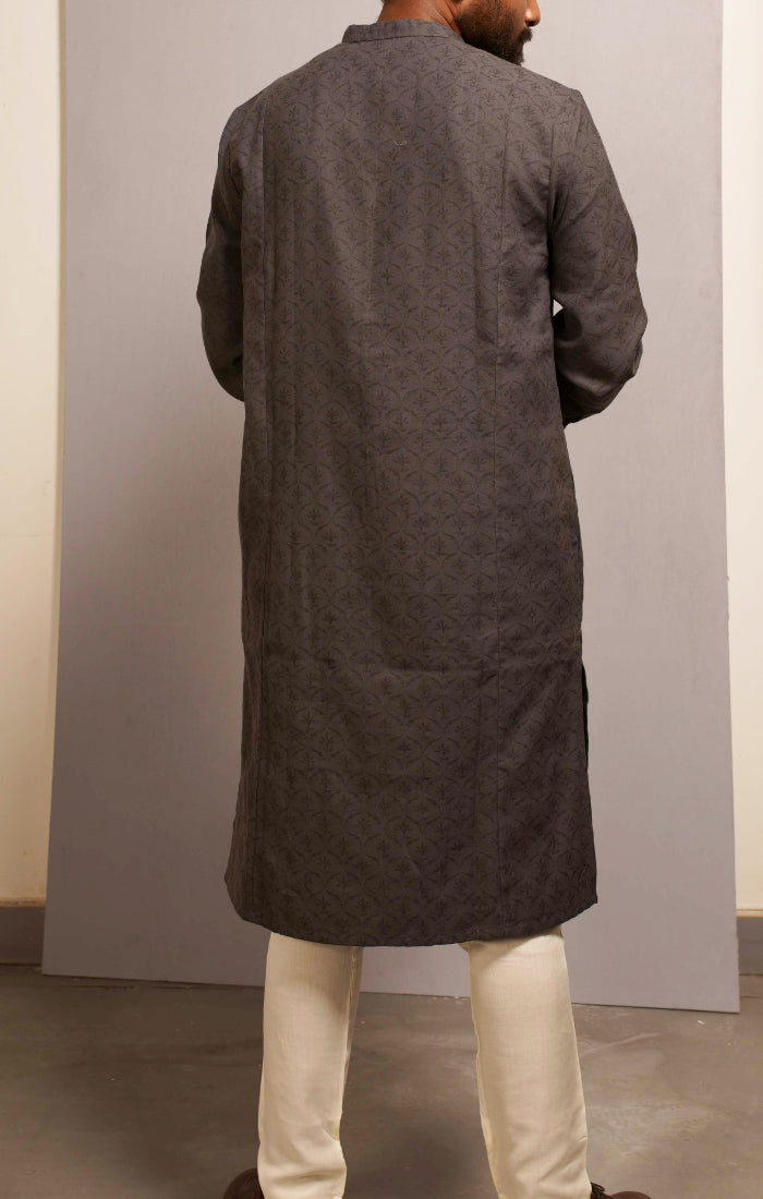 Grey Hand block printed Kurta