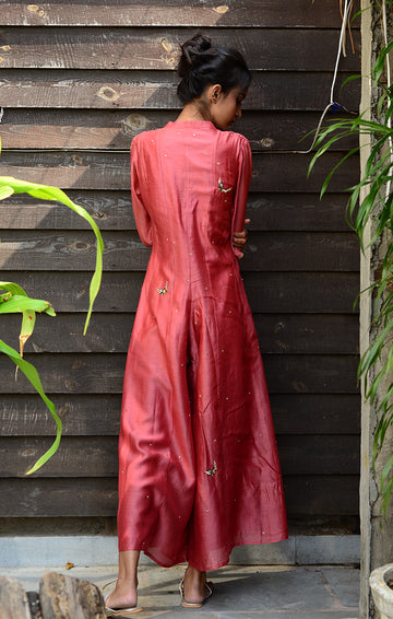 Pale Red Chanderi Jumpsuit