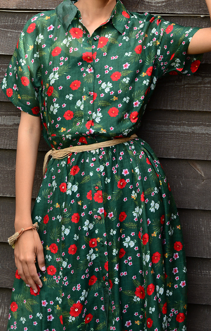 Green Floral Printed Chanderi Shirt Dress