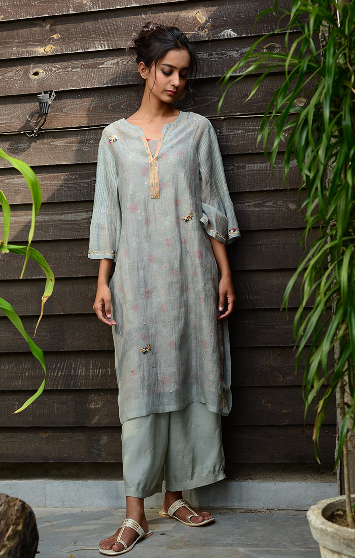 Pale Grey Kurta with Pants and Printed Slip Dress