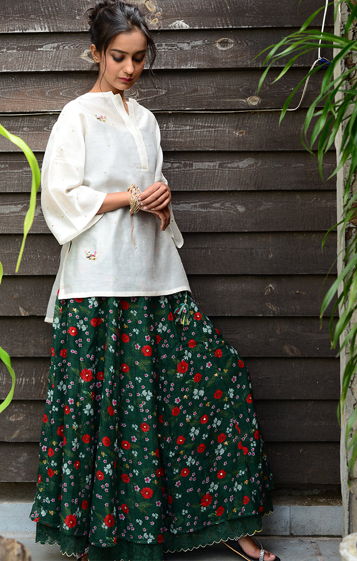 Floral Printed Skirt Chanderi - Green with Ivory Chanderi Top