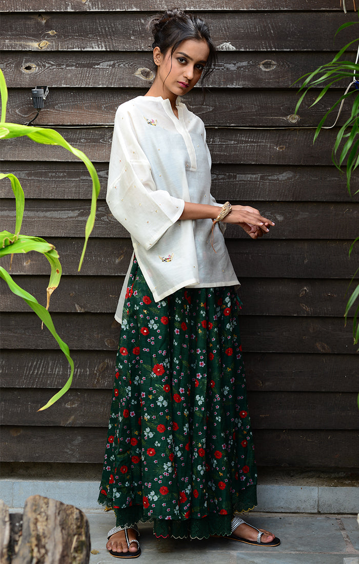 Floral Printed Skirt Chanderi - Green