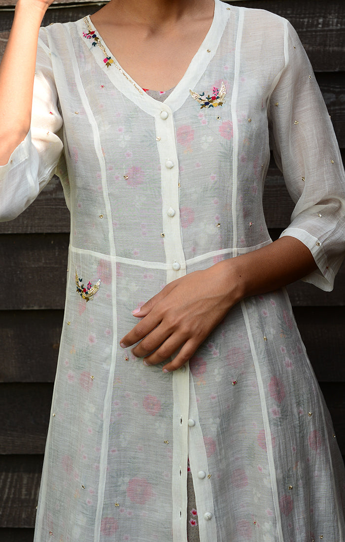 Ivory Chanderi Shirt Dress