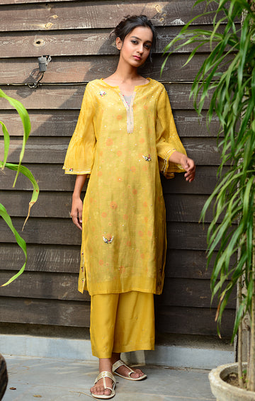 Pale Mustard Kurta with Pants and Printed Slip Dress