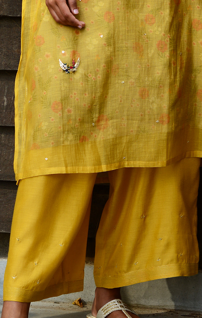 Soft silk pale Mustard pants