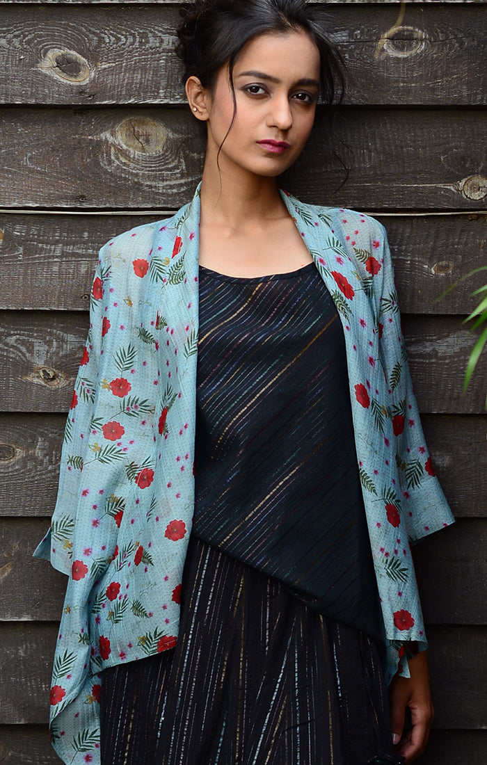 Blue Chanderi Overlay with floral prints