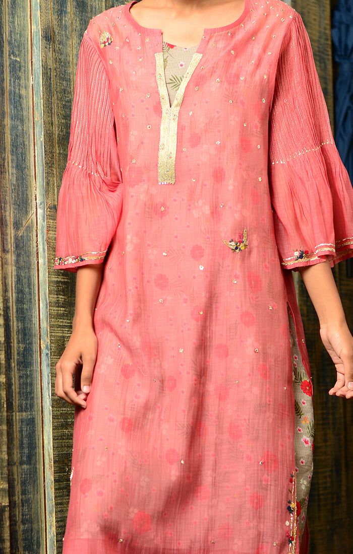 Pale Red Kurta with Pants and Printed Slip Dress