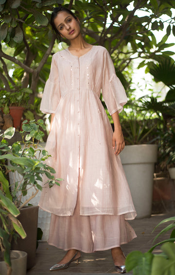 Onion Pink Chanderi Tunic with Palazzo