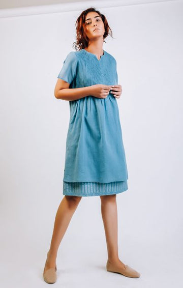 Pinktuck shift Dress - Dusty Blue