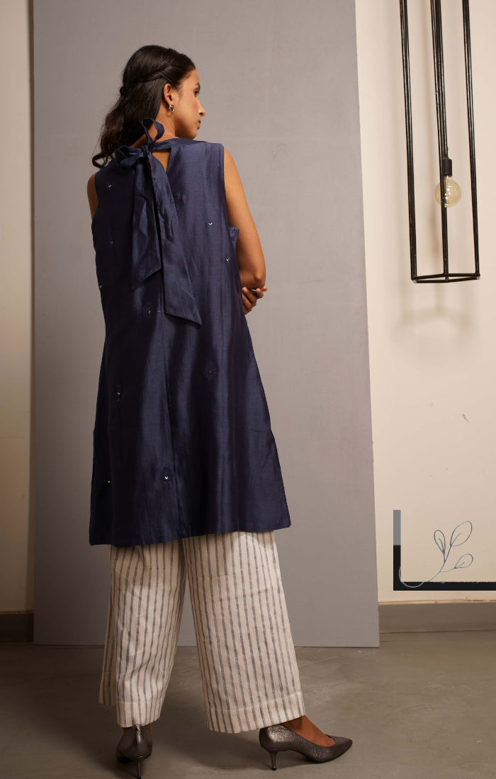 Handblock printed Organic cotton satin pants Blue