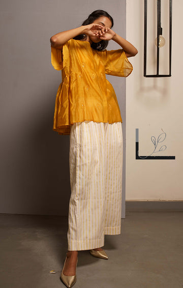 Handblock printed Organic cotton satin pants Mustard