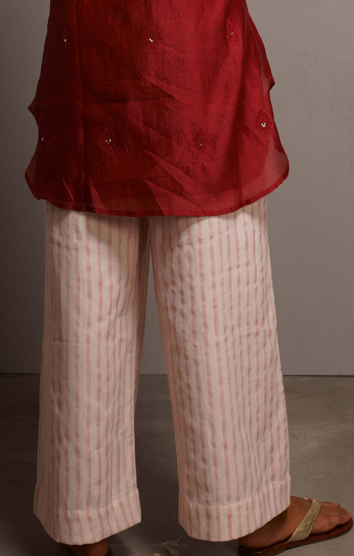 Handblock printed Organic cotton satin pants Carmine