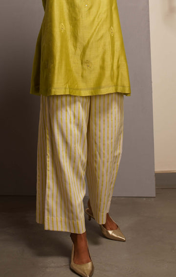 Handblock printed Organic cotton satin pants Citron Green