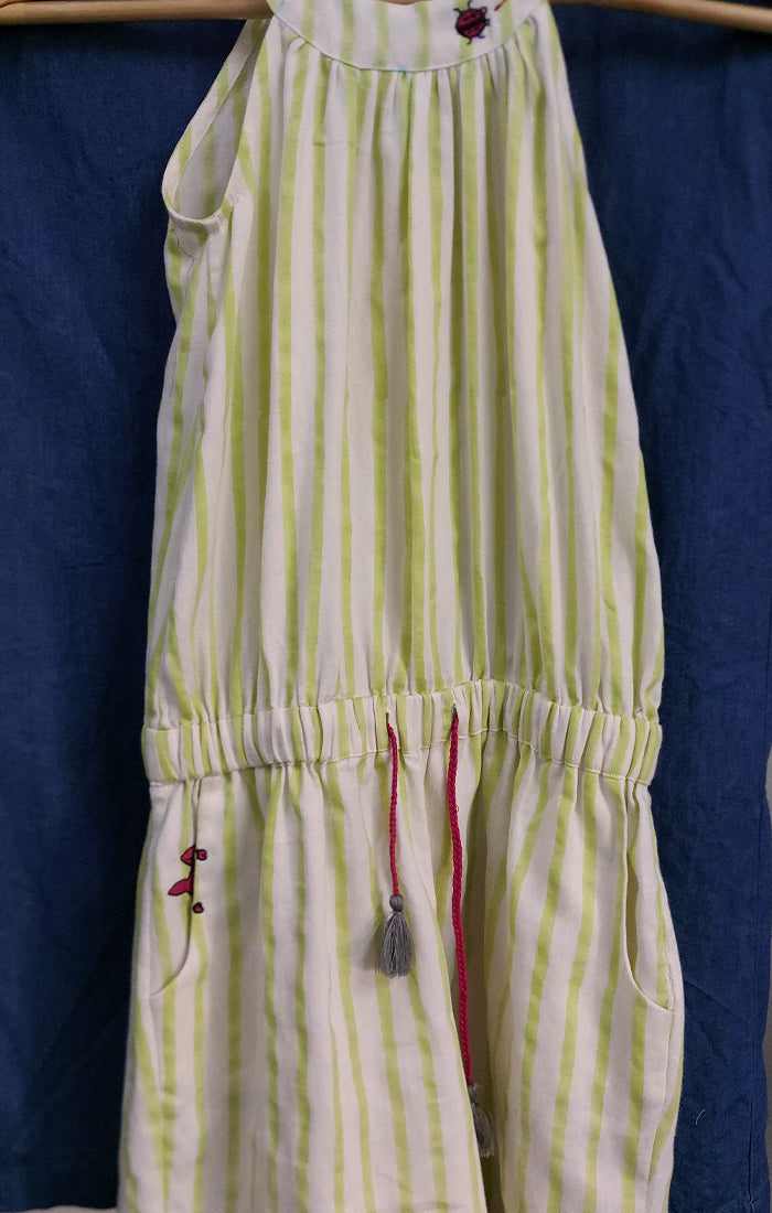 Romper - Ivory with Lime Green Stripes
