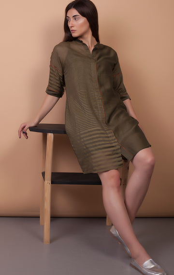 Olive Green handloom Chanderi Boxy Fit Dress