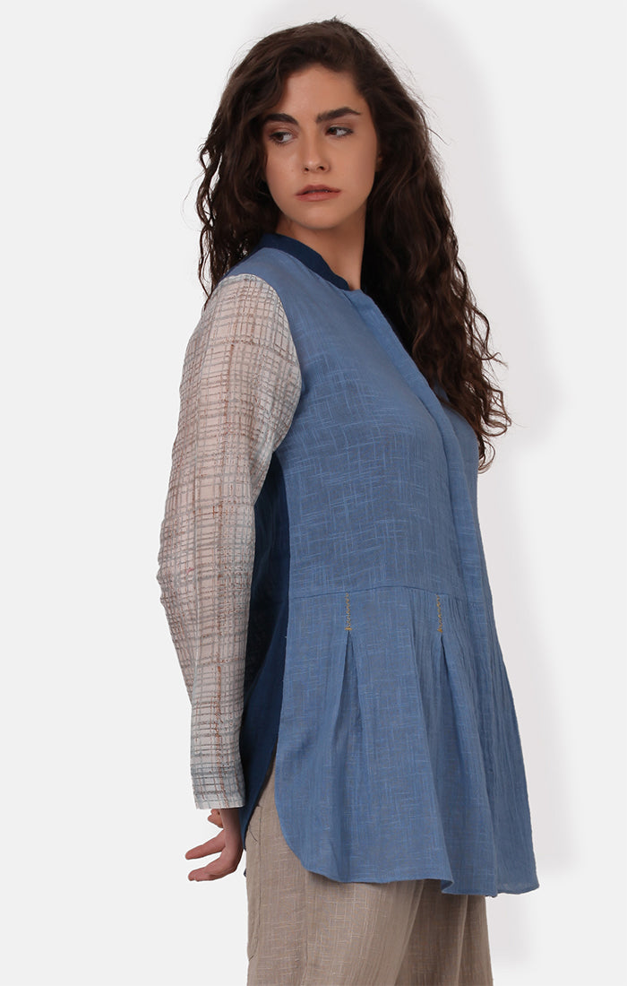 Shirt with Pleats - Powder Blue