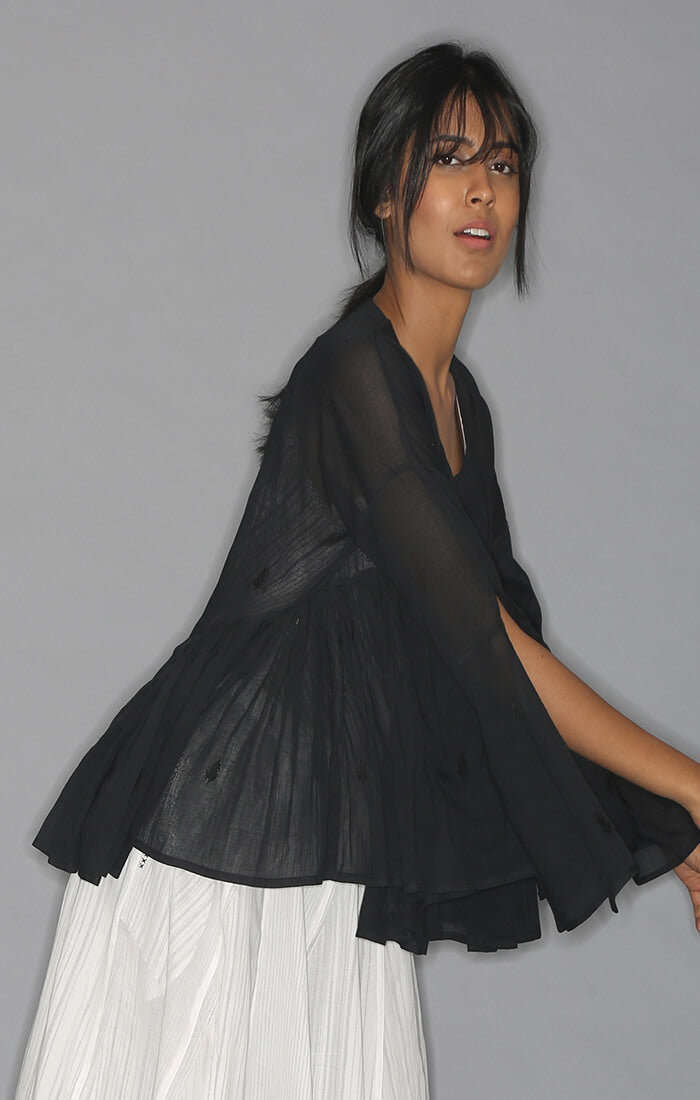 Kedia Top - Black with Slip and skirt