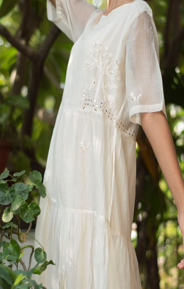 Tiered Maxi Dress Ivory - Chanderi
