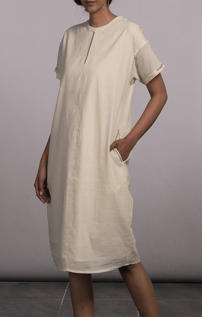 Handspun handwoven Muslin Peg Dress - Natural