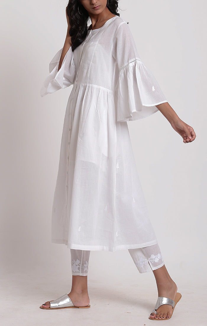 Tunic Dress - white with white sheer pants