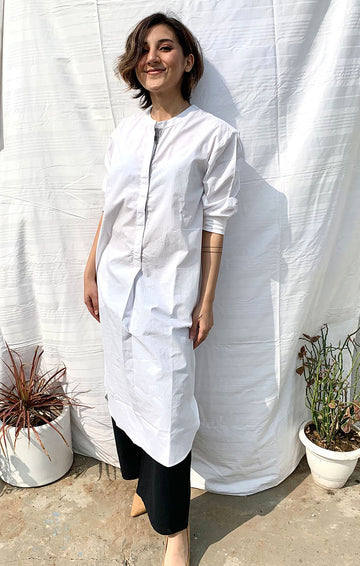 White Organic Cotton Shift Dress with pants