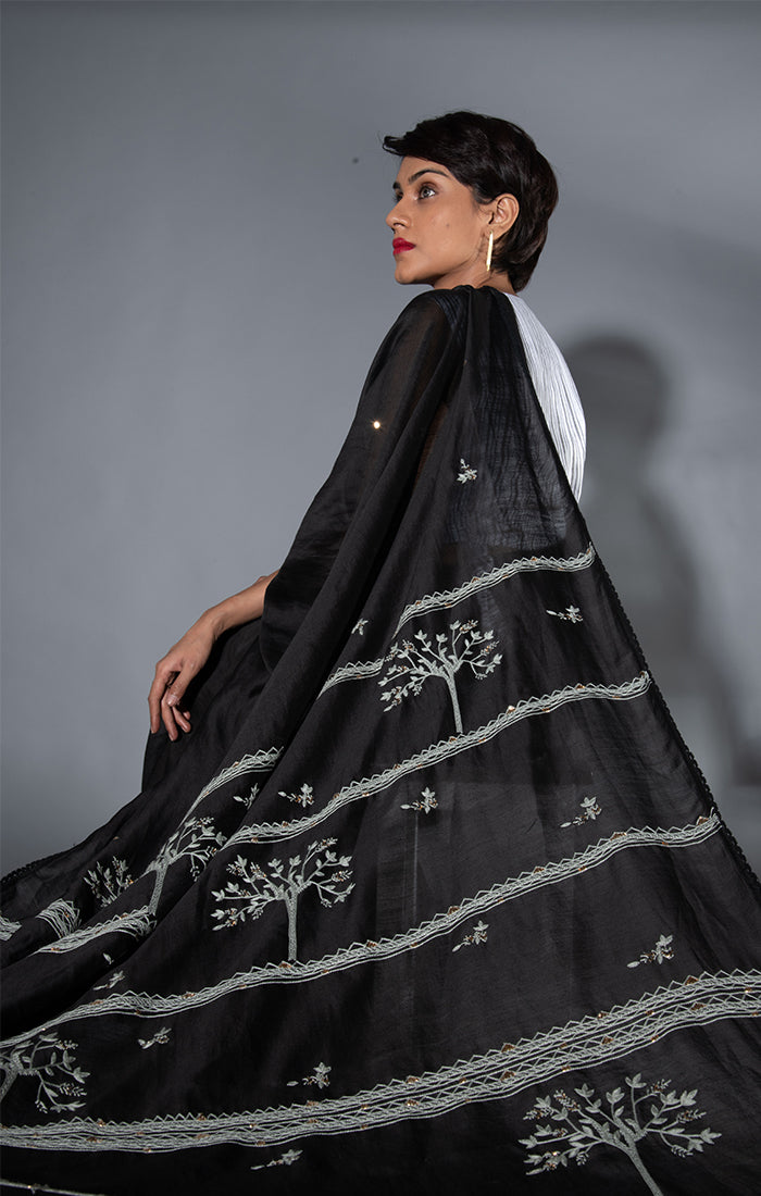 Chanderi Saree with Blouse - Black