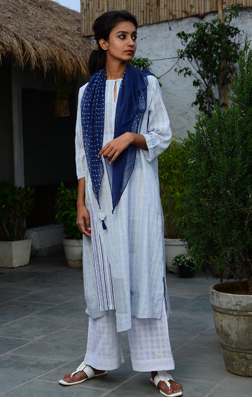Pale Blue Tunic with White Palazzo and Deep Blue Scarf