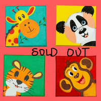 Cute 4 canvasses will adore the wall of the kid's nursery or room and make the room even more cuter.   These are 5X5 inches original acrylic on canvas, handpainted, and made with love for your kid's room.  Animal paintings, giraffe, panda, tiger, monkey