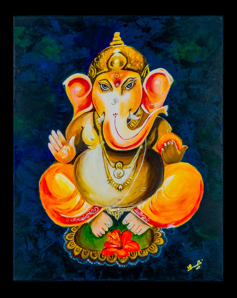 Lord Ganesha is known as the God of wisdom, success, prosperity, and vanquisher of obstacles.   Size - 16 X 20 inches.  Lord Ganesha painting