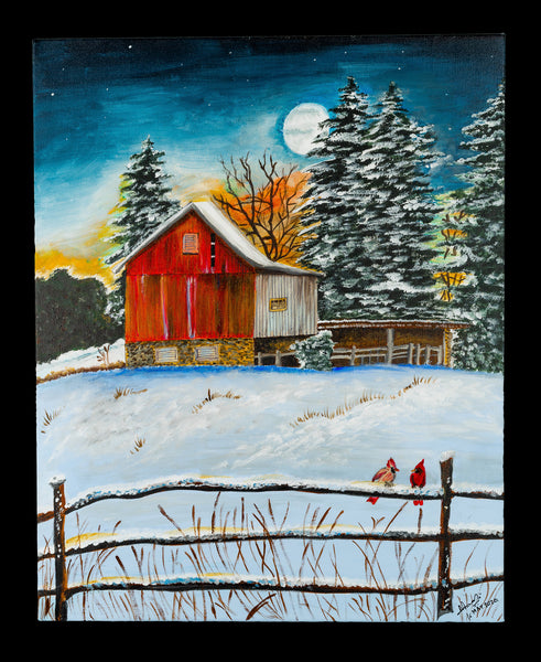 landscape painting. Painting of a red barn. Winter painting, snowy field and trees. Size - 16 X 20 inches