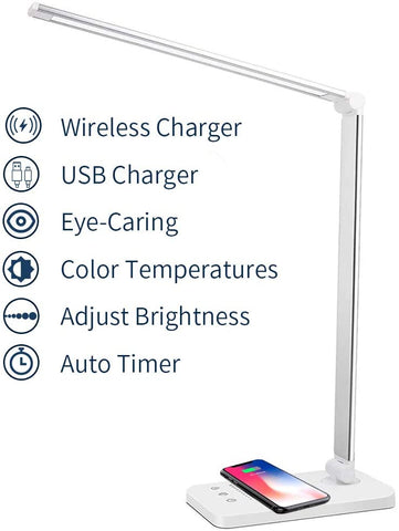 LED desk lamp with wireless charger, dimmable eye protection desk lamp, touch control, automatic timer