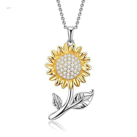 Silver sunflower pendant necklace, ladies necklace