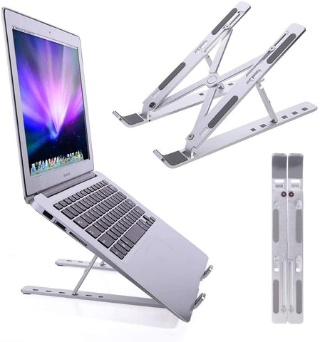 Portable laptop stand, adjustable aluminum laptop tablet stand, foldable desktop computer stand