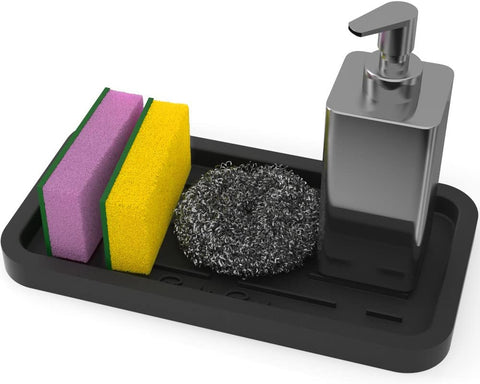 Silicone Sponges Holder - Kitchen Sink Organizer Tray for Sponge, Soap Dispenser, Scrubber and Other Dishwashing Accessories