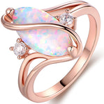 Rose gold and white gold plated ruby ring, white fire opal and cubic zirconia ring