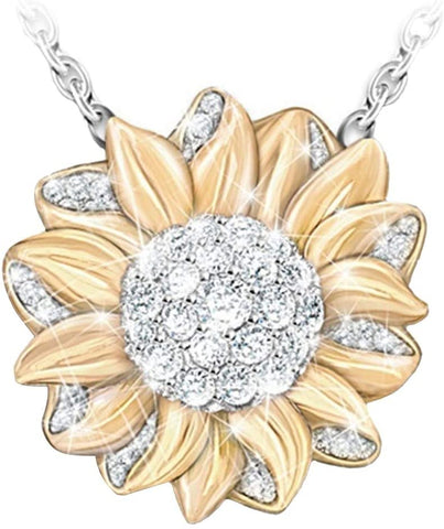 Sunflower pendant necklace, ladies necklace